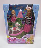 Набор с куклой Асей  'Прогулка верхом' 28 см блондинка и маленькой куклой 11 см(35104)