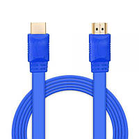 Шнур E-Cable HDMI - HDMI, 0.5м, v1.4, 3D, Hi-Speed, flat-series, blue (EC55512)