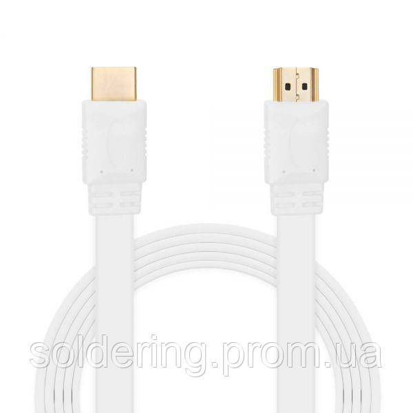 Шнур E-Cable HDMI - HDMI, 3м, v1.4, 3D, Hi-Speed, flat-series, white (EC555121)