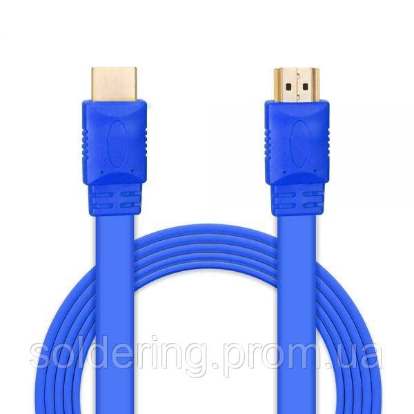 Шнур E-Cable HDMI - HDMI, 3м, v1.4, 3D, Hi-Speed, flat-series, blue (EC555122)