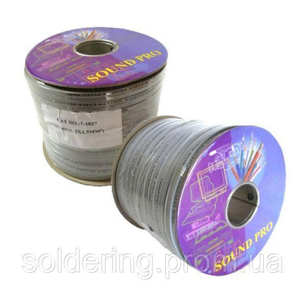 Кабель акустический плоский (2х1.0мм.кв), CU, 100м, серый, на катушке