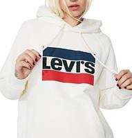 Худи в стиле Levis ( Левайс ) | Мужская женская толстовка | Кенгурушка белая