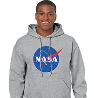 Толстовка Худи NASA серое с логотипом, унисекс (мужская,женская,детская)