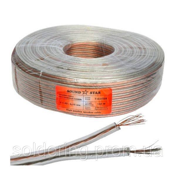 Кабель акустический 2х14.12мм (0.16мм.кв), CCA, 100м, прозрачный