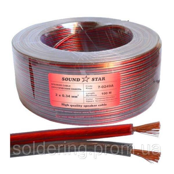 Кабель акустический (2х0.34мм.кв), CCA, 100м, красно-черный, прозрачный