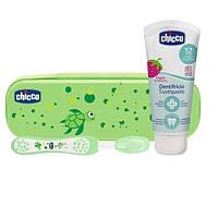 Дорожный набор Chicco: зубная щетка + зубная паста 50 мл, зеленый (06959.00)