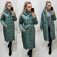 Пуховик одеяло зимний длинный приталенный матовый арт. M032 зеленый / зеленого цвета