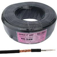 Кабель коаксиальный RG-58U (0,8CU+2,9PE+AL-foil+64х0,12CCA), одножильный, диам-5.0мм, черный, 100м