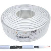 Кабель коаксиальный RG-6/64 (1,02CCS+AL-foil+64x0,12AL), одножильный, диам-6.8мм, белый, 100м