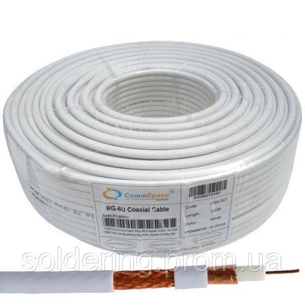 Кабель коаксиальный RG-6/64CCA (1,02CCS+CCA-foil+64x0,12), одножильный, диам-6.8мм, белый, 100м