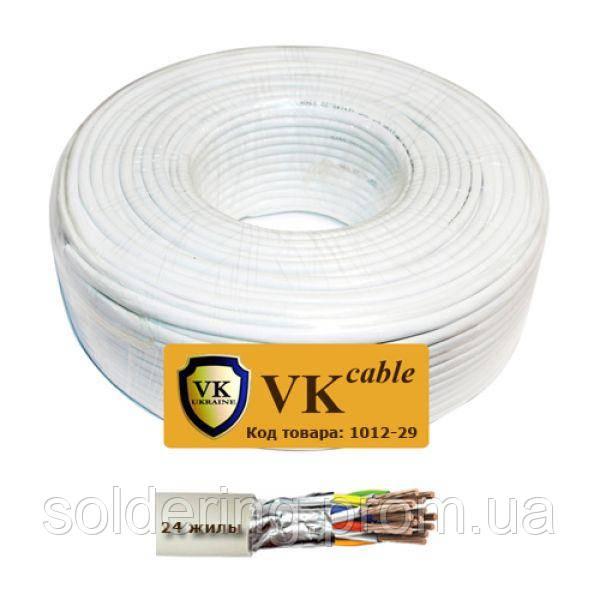 Кабель сигнальный VKcable 24 жилы (7х0.22мм) в экране, CU, 100м, белый