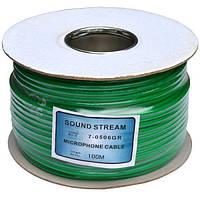 Кабель микрофонный 2 жилы (диам.6,0мм), CU, 100м, зеленый, круглый, на катушке