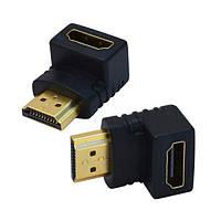 Переходник Comp штекер HDMI - гнездо HDMI, угловой, gold (CP55551)