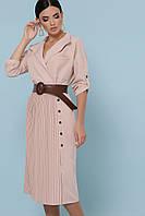GLEM бежевое платье с юбкой плиссе Заира д/р М, L, XL