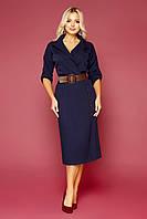 GLEM синее платье плиссе с коричневым поясом Заира д/р S, M, L