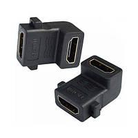 Переходник Comp гнездо HDMI - гнездо HDMI, угловой, gold (CP55557)