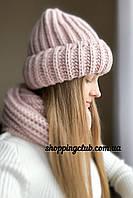 Комплект: шапка + хомут (снуд) пудра шерсть/акрил
