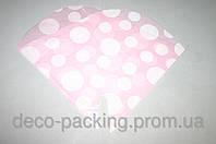 Пакет (флизелин +пленка) 35см*35см розовый+белый горох