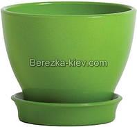Горшок керамический глянец зеленый (диаметр 16 см.)