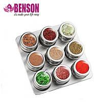 Набор баночек для специй и приправ на магнитной подставке Benson BN-007 из 9 сосудов