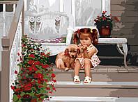 Раскраска по номерам Menglei Девочка с собакой худ. Золан, Дональд (KH1024) 40 х 50 см
