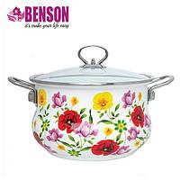 Эмалированная кастрюля с крышкой Benson BN-116 1,9 л  | Белая с цветочным декором
