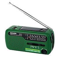 DE13-D - FM/AW/SW радиоприемник + MP3 (USB), динамо-генератор, солнечная панель, фонарь, Ni-MH аккумулятор, DC