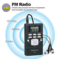 Портативный стерео мини радиоприемник PR13-R с дисплеем, часы, наушники, фото 1