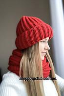 Комплект: шапка + хомут (снуд) красный шерсть/акрил