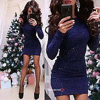 Короткое нарядное платье, трикотаж гофре с пайеткой, цвет - синий