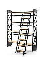 Стеллаж для книг с лестницей в стиле LOFT (NS-970000912), вис-2100мм, шир-400мм, довж-1700мм,