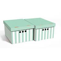 Global-Pak (Польша) Набор картонных ящиков для хранения А4 зеленые полосы 2 шт 0611.34