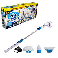 Электрическая беспроводная щетка для уборки Spin Scrubber с тремя насадками / Спин Скруббер