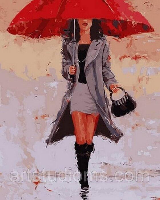 Картина по номерам Под красным зонтом 40 х 50 см (с коробкой)