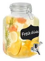 Кувшин-банка для лимонада 2л с краном и крышкой-затяжкой, стекло