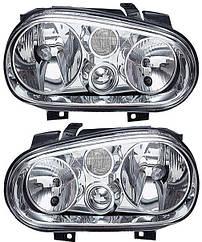 Левая фара Вольксваген Гольф IV h7+h1 хром. механическая/электрическая регулировка / VOLKSWAGEN GOLF IV (1997-2003)