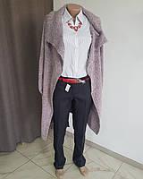 Кардиган вязаный розово-серый с карманами и черным поясом 52