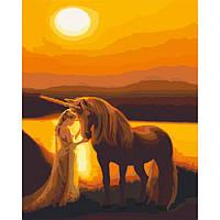 Картина для росписи по номерам без коробки. Единорог на закате, 40*50 см
