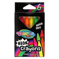 Олівці воскові трикутні Colorino 6 неонових кольорів (92050PTR)