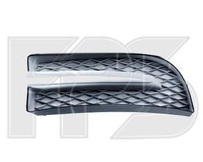 Левая решетка Шевролет Авео T250 в бампере без отв. (комплект с черной накладкой) - заглушка противотуманки / CHEVROLET AVEO T250 (2006-2011)