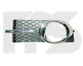 Левая решетка Шевролет Авео T250 в бампере с отв. (комплект с хром. накладкой) / CHEVROLET AVEO T250 (2006-2011)