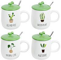 """Кружка фарфоровая """"Green Life"""" 420мл с крышкой и ложкой"""