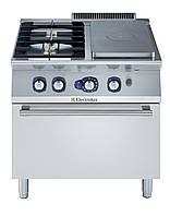 Газовая плита со сплошной поверхностью  концентрического нагрева 1/2М+2 горелки на газовом жарочном шкафу