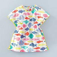 Летнее детское платье для девочки Цветные рыбки