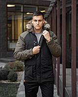 Куртка парка зимняя мужская Seniora udacha черный с хаки