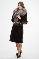 Пальто из норки, ворот из чернобурки  - 00919 длина 100 см