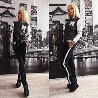 Черный спортивный костюм с белыми рукавами Hard x-310559