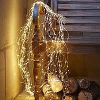 Гирлянда Конский хвост 600 led, Теплый белый, 25 нитей, прозрачный провод, 2,5м.
