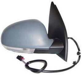 Левое зеркало Вольксваген Гольф V электрический привод; с обогревом; складывающееся; под покраску; асферическое; с указ. поворота; без подсветки /