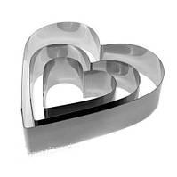 Набор форм для выпечки из нержавеющей стали в виде сердца Benson BN-1038 / формы для выпекания 3 шт Бенсон
